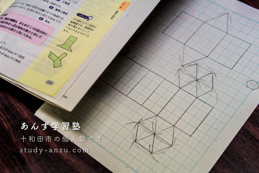 正六角柱の展開図